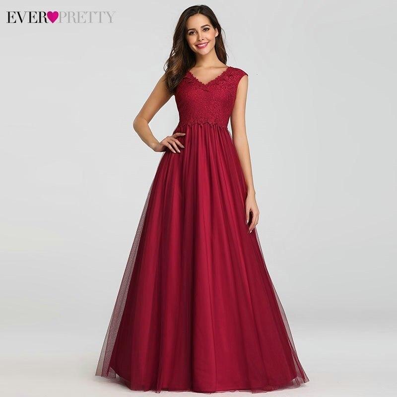 39183ec56a9d Vestidos de Noche Vintage largos siempre bonitos A-Line cuello en V ...