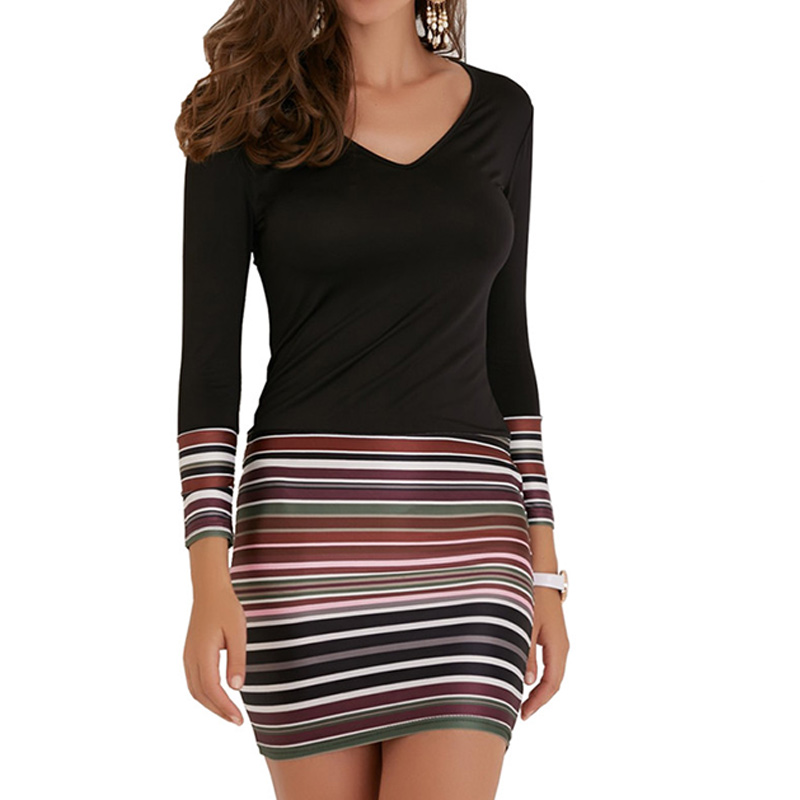 Plus Size XL Women Striped Dress Sexy Slim Party Mini Bodycon Dresses Casual Long Sleeve V-neck Patchwork Short Dress Vestidos