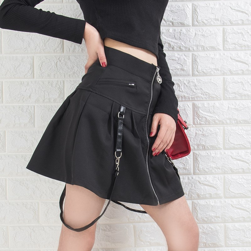 Harajuku Women Black Gothic Pleated Skirts Pleated Skirt Punk High Waist Female Mini Skirt in Skirts from Women 39 s Clothing
