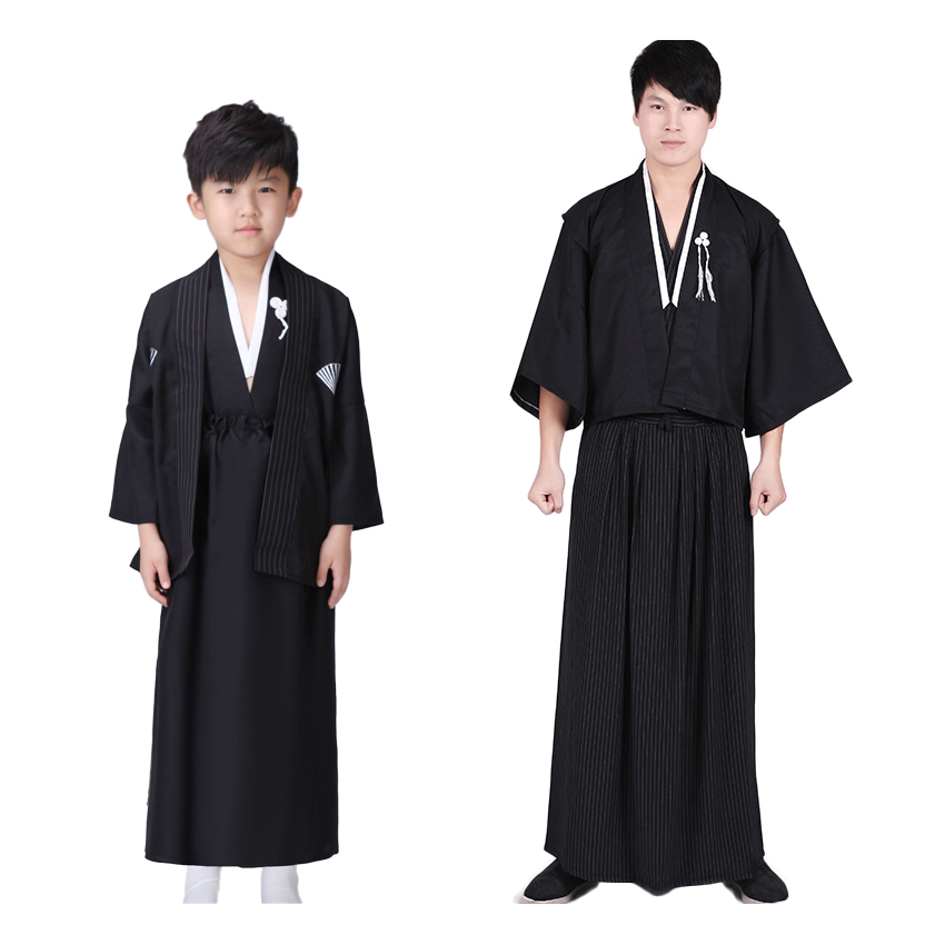 New Year Festival Halloween Cosplay Father Son Japanese Kimono Costumes Man Kids Boys Yukata Samurai Sauna Haori Robe Gown