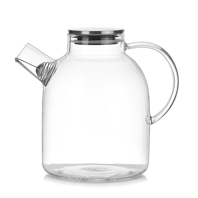 EAS-1800ml Water Pitcher, Resistant Transparent Glass Kettle Teapot Coffee Juice Jug With Stainless Strainer Functional