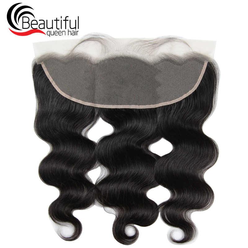 Hermosa reina 10A pelo humano peruano 13x4 encaje transparente Frontal cuerpo onda Pre desplumado cabello virgen 130 densidad