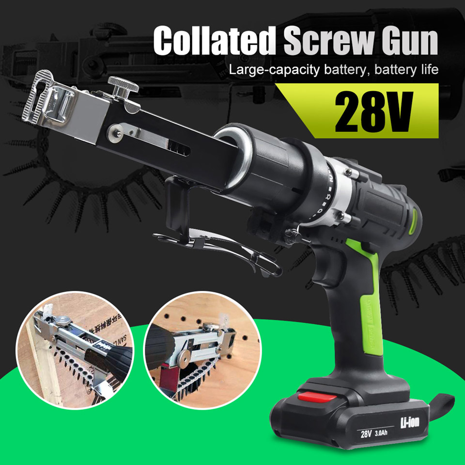 28V Max Electric Screwdriver Cordless Drill Mini Wireless Power Driver DC Lithium Ion Battery With 2 Lithium Battery