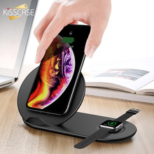 KISSCASE 2 in 1 10W Wireless Charger For Apple i Watch Samsung Galaxy S10 S9 S8 Plus Fast Charging Universal Desk Holder
