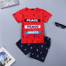 Kids boys summer new short-sleeved suit cotton fashion letter T-shirt + five pants childrens clothing