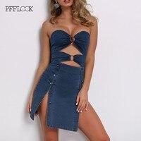 PFFLOOK summer blue Denim women dress 2019 Button hollow out off shoulder high split mini dress sexy holiday push up party dress