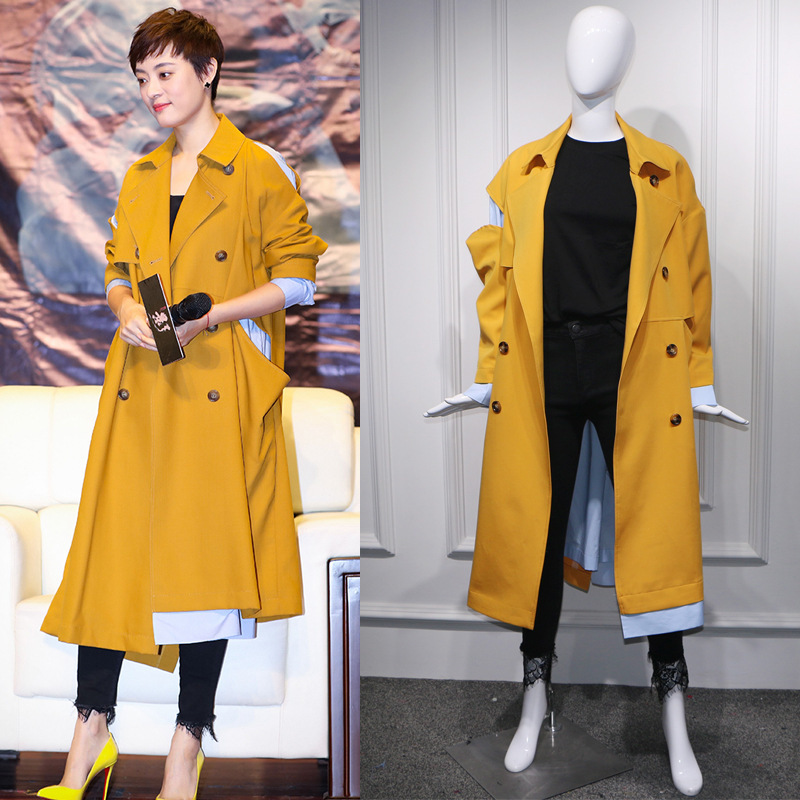LANMREM 2019 new spring turn-down collar full sleeves patchwork striped spliced single breasted windbreaker   trench   WD24107L