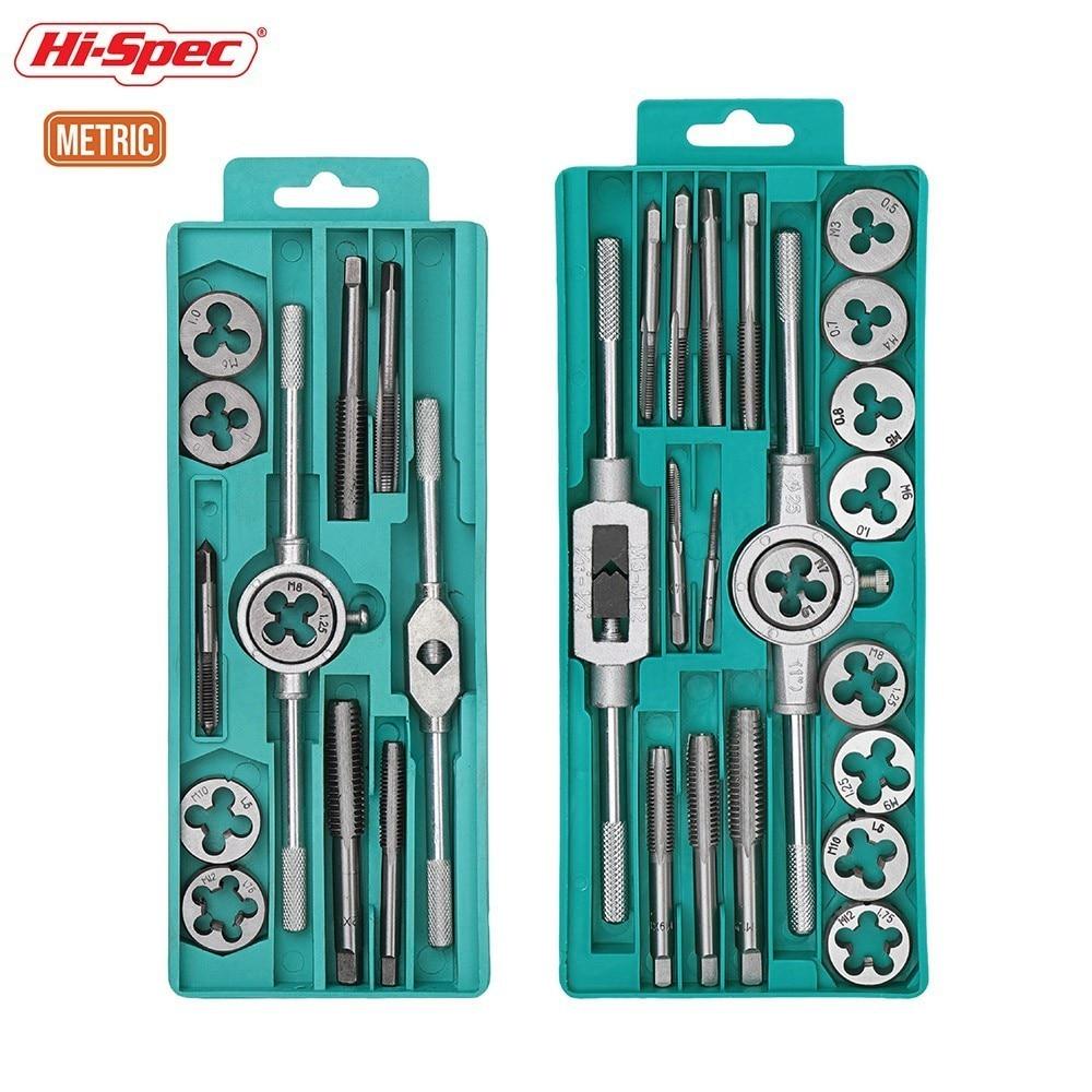 HI-Spec 12pc 20pc Tap Die Set 1/ 16''-1/2'' NC Screw Thread Plugs Taps Alloy Steel Metric Hand Screw Taps Tap Twisted Hand Tools