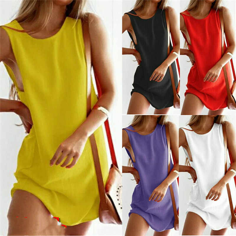 T-shirt Vrouwen Vrouwen Lady Mini Jurk Bloemen Zomer Casual Prom Party Losse Tuniek Shirt Mouwloze O-hals Boho Stijl
