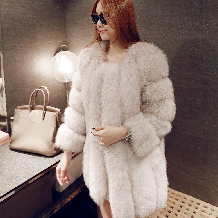 Femmes D'hiver Manteaux De rose Luxe Faux pu Qualité Marque Renard bleu Ciel Manteau noir rose Fausse bourgogne 2 Fourrure blanc Rouge Veste Long Haute pink Red wTxqT8Ir