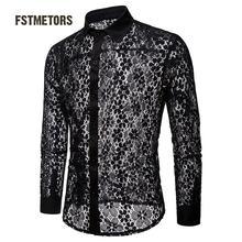 2018 Fstmetors Autumn And Winter Full Lace Pure Color Fashion Design Men's Long Sleeved Lapel Shirt  Men Shirts