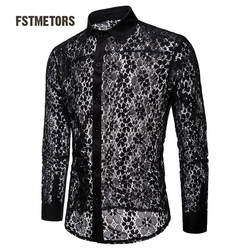 2018 Fstmetors Herbst Und Winter Volle Spitze Reine Farbe Mode-design Männer Langarm Revers Hemd Männer Shirts SorgfäLtig AusgewäHlte Materialien