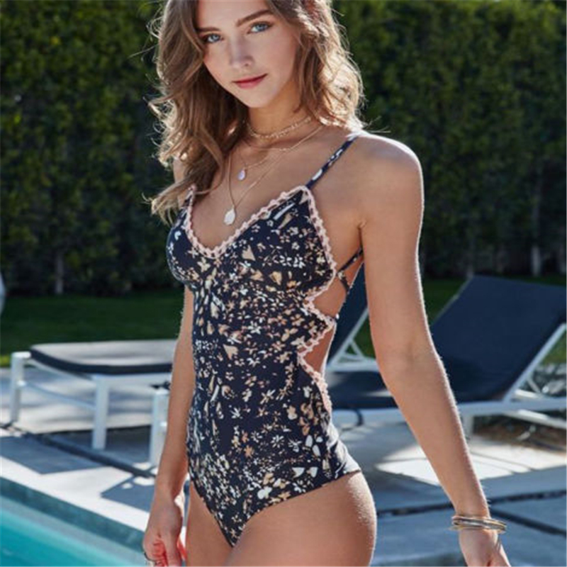 2019 New One Piece Backless Swimsuit Sexy Floral Printed Swimwear Women Bathing Suit Beach Backless Monokini Swimsuit Female
