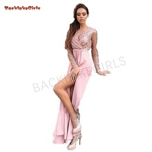 Pink Beaded Evening Dresses Long Sleeves V-Neck Chiffon