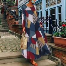 ZANZEA 2019 Summer Autumn Women Long Sleeve Maxi Dress Sundress Printed Elegant Female Vestidos Beach Robe Kaftan Plus Size