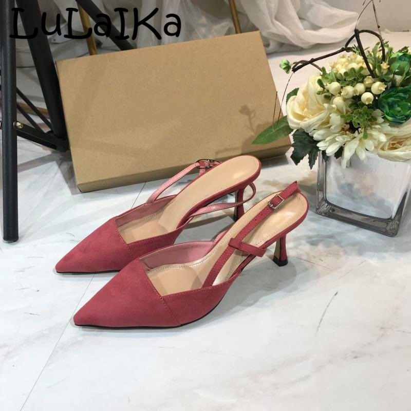 2019 Fashion Woman Solid Color Pointed Toe Sandals Summer New Brand Buckle High Heels Elegant Lady Wedding Party High Heels2019 Fashion Woman Solid Color Pointed Toe Sandals Summer New Brand Buckle High Heels Elegant Lady Wedding Party High Heels