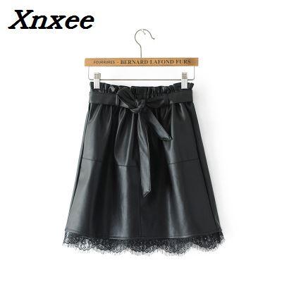 PU leather women mini skirt lace patchwork sashes fashion black Xnxee