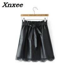 PU leather women mini skirt lace patchwork sashes fashion black skirt Xnxee black fashion sequins embellished mini skirt