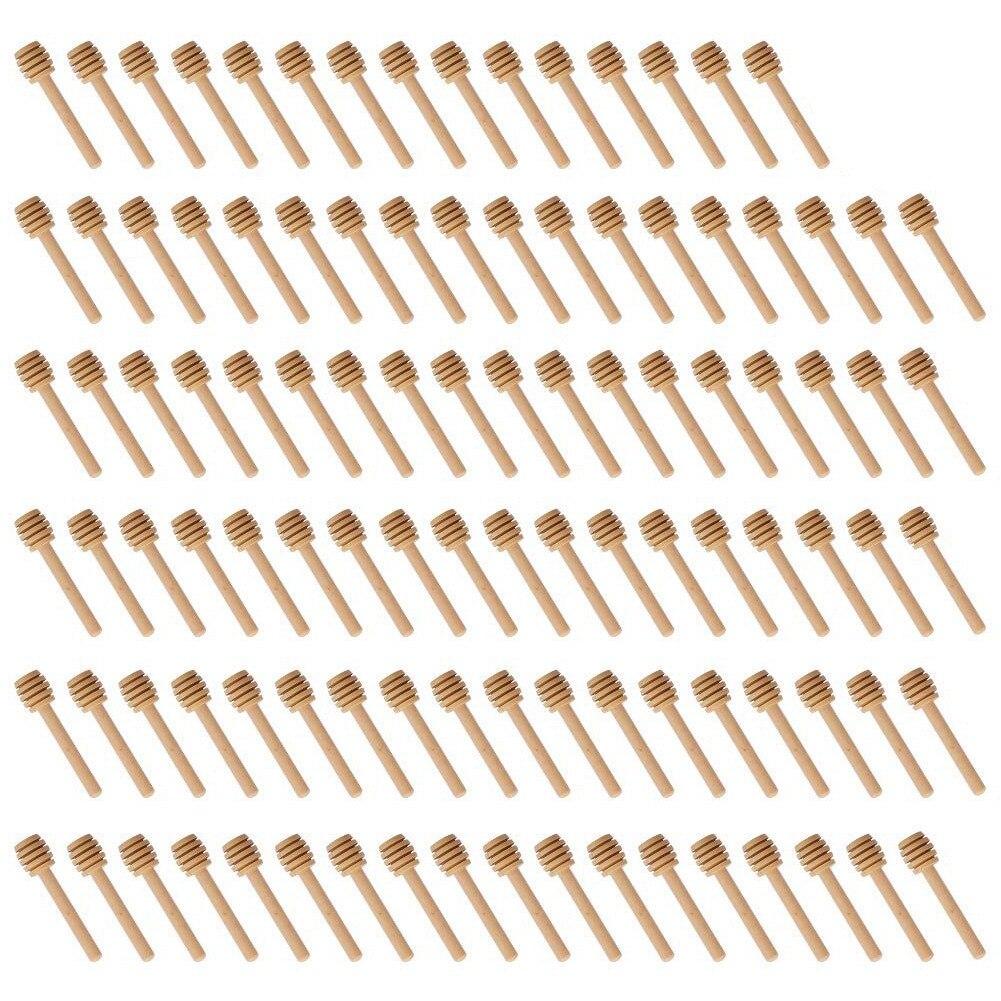 Venda quente 100 pacote de mini 3 Polegada madeira mel dipper varas, individualmente envolvido, servidor para frasco de mel dispensar mel,