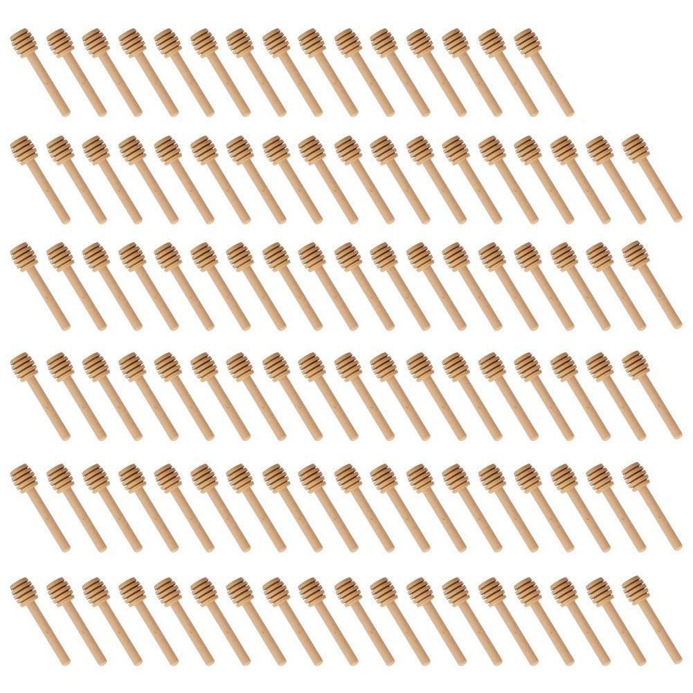 Venda quente 100 Pacote De Mini 3 Polegada Madeira Varas Dipper do Mel, Embalados Individualmente, servidor Para Honey Jar Dispense Regue Mel,