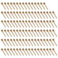 Venta caliente 100 Paquete de Mini 3 pulgadas palillos de miel de madera, envuelto individualmente, servidor para tarro de miel prescindir de llovizna cariño.