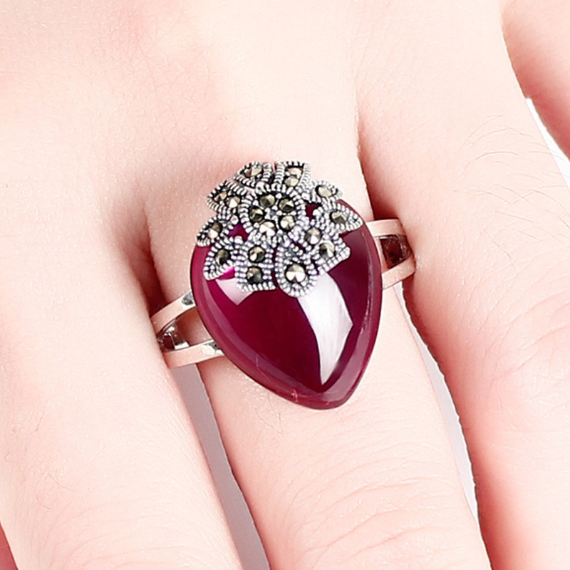 2018 Promotion New Anel Masculino Anillos Rings S925 Yintai Synthetic Rhyme Women Jewelry Magenta Garnet Ring Kaiyun Original