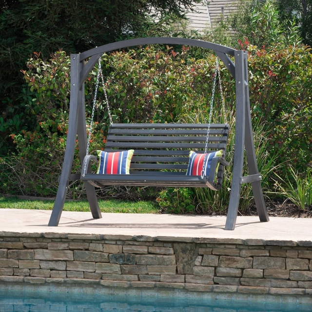 Tyrell Outdoor Grey Finished Larch Wood Swinging Bench On Aliexpress