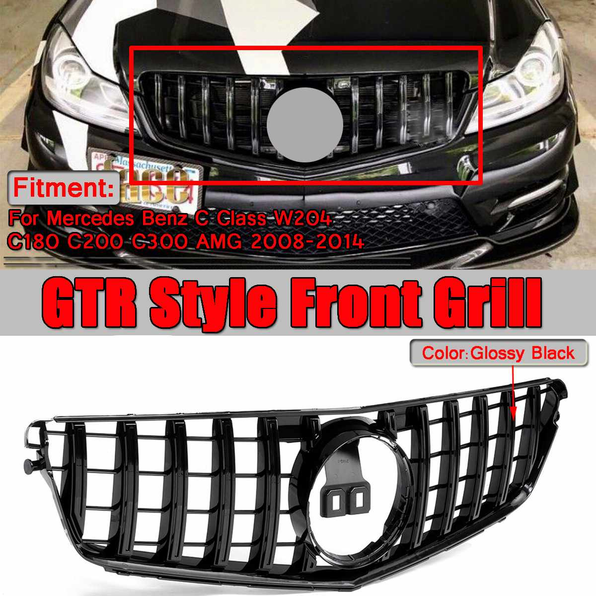 1x W204 GTR GT Style Car Front Bumper Upper Racing Grille Grill For Mercedes For Benz W204 C180 C200 C300 for AMG 2008-20141x W204 GTR GT Style Car Front Bumper Upper Racing Grille Grill For Mercedes For Benz W204 C180 C200 C300 for AMG 2008-2014
