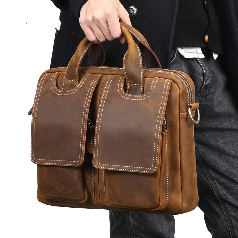 Vintage Crazy Horse Leather Briefcase Men Business Bag 65940 Leather Messenger Shoulder Portfolio Laptop Bag Case Office Handbag crazy horse leather in totes bag men briefcases handbag messenger bag portfolio laptop 7164r