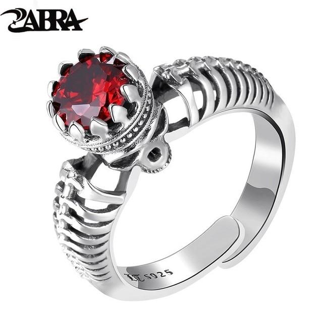 ZABRA 100% Real 925 Silver Gothic Skull Ring Men Women Red Stone Cubic Zirconia Adjustable Size 6-13 Vintage Biker Man Jewelry