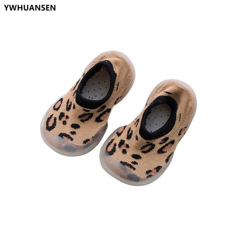 Summer Spring Leopard Soft Bottom Non-Slip Floor Socks Solid Color Toddler Girl Boy Shoes With Transparent Rubber Soles Kid Baby 3
