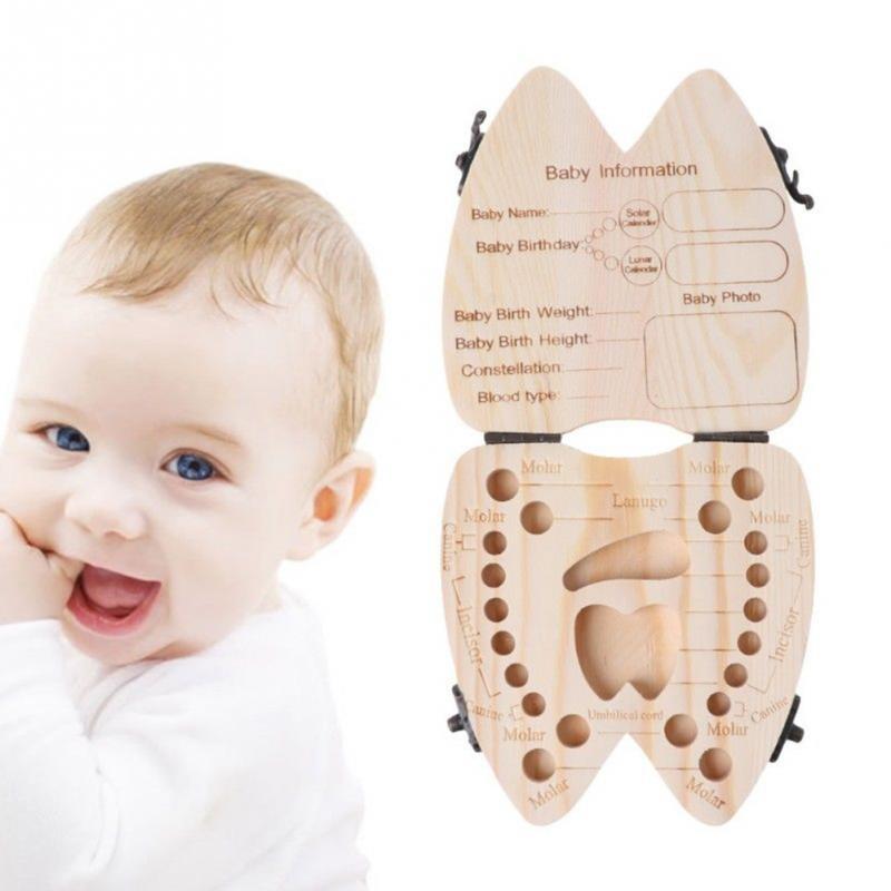 Portuguese/English /Spanish/ French /Italian/Turkey/Baby Tooth Box Wooden Milk Teeth Organizer Storage Save Souvenir Case
