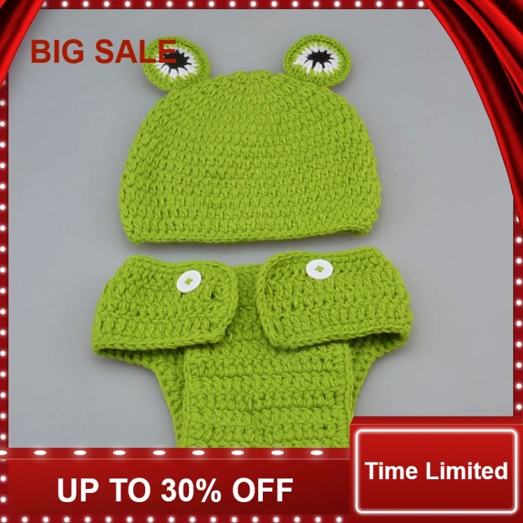 New Cute Frog Design Baby Crochet Hat&Pants set Infant Animal Costume Photography Props 1set