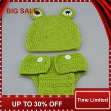 New Cute Frog Design Baby Crochet Hat&Pants set Infant Baby Animal Costume Photography Props 1set crochet butterfly shape photography costume set for baby