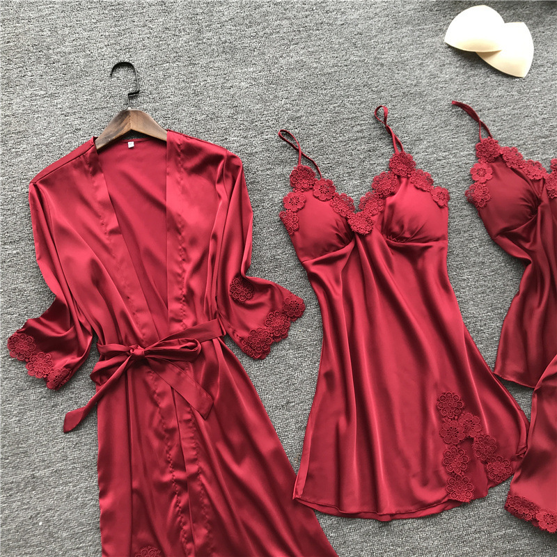 Hot DealsSexy Sleepwear Pajamas Satin 4pcs-Set High-Quality Lace Summer New with Chest-Pad