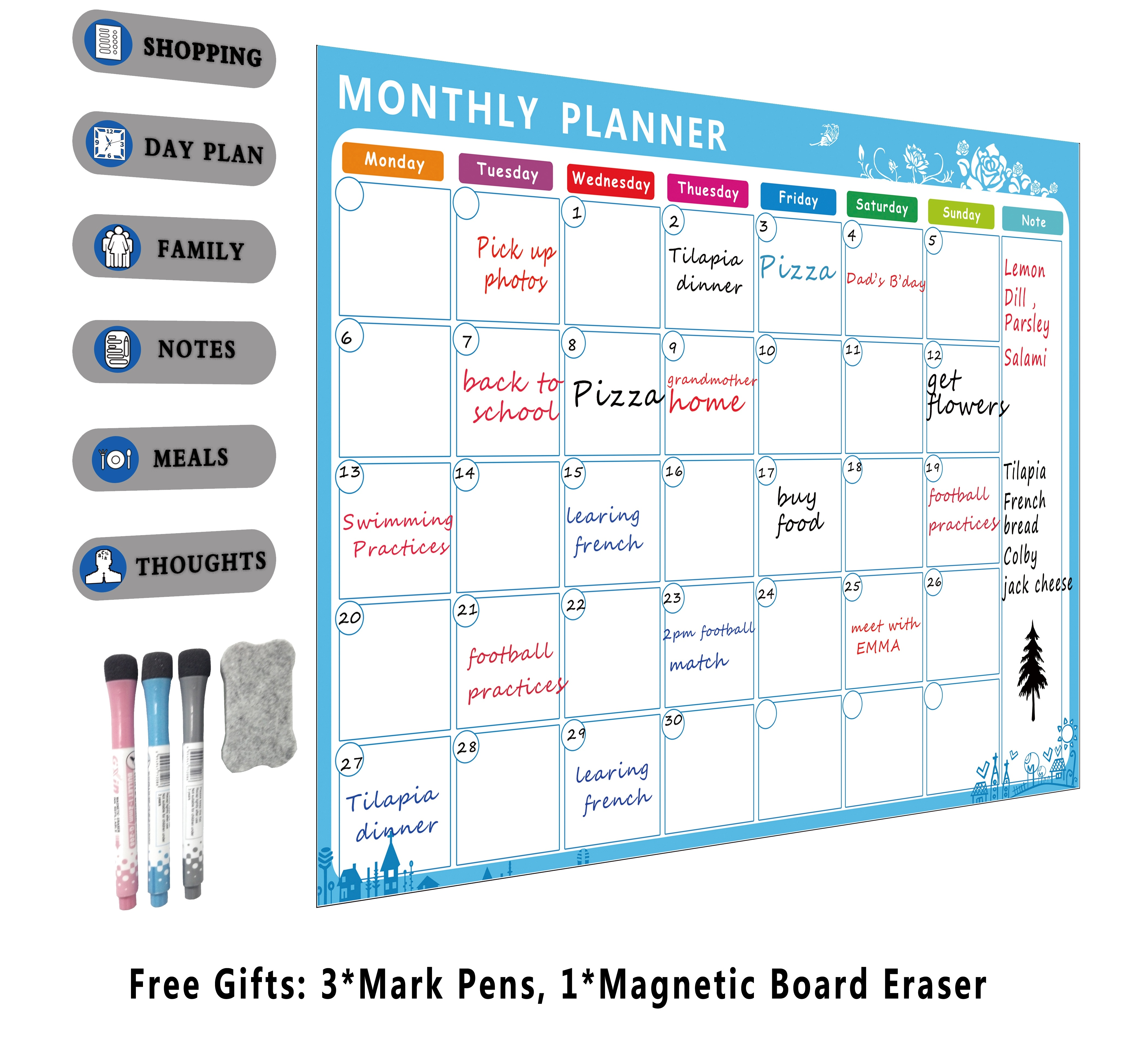 Magnetic Chore Chart For Kids, Dry Erase Planner Board | A3 Magnetic Refrigerator Whiteboard Family Organizer To Do List