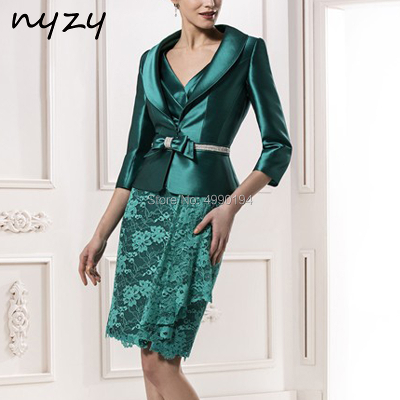 Emerald Green 2 Piece Mother Of The Bride Groom Dresses With Jacket Bolero Elegant Dress For Wedding Party Guest 2019 NYZY M109