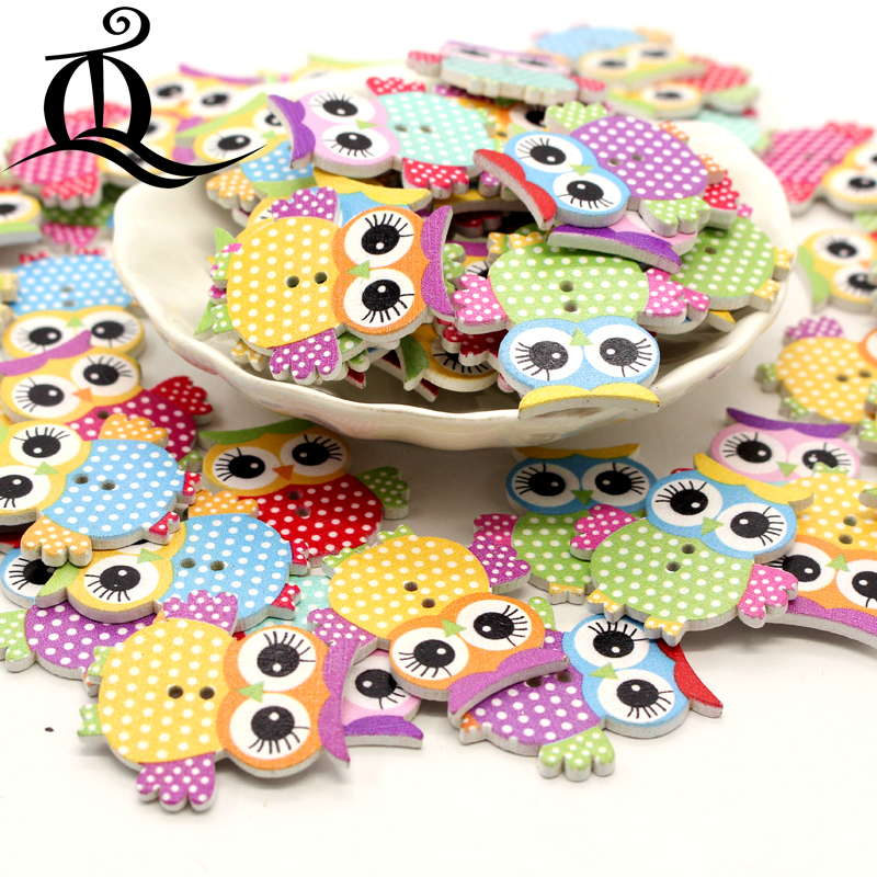 50pcs Colorful Cartoon Animal Number Wooden Buttons 2-holes for Sewing Craft