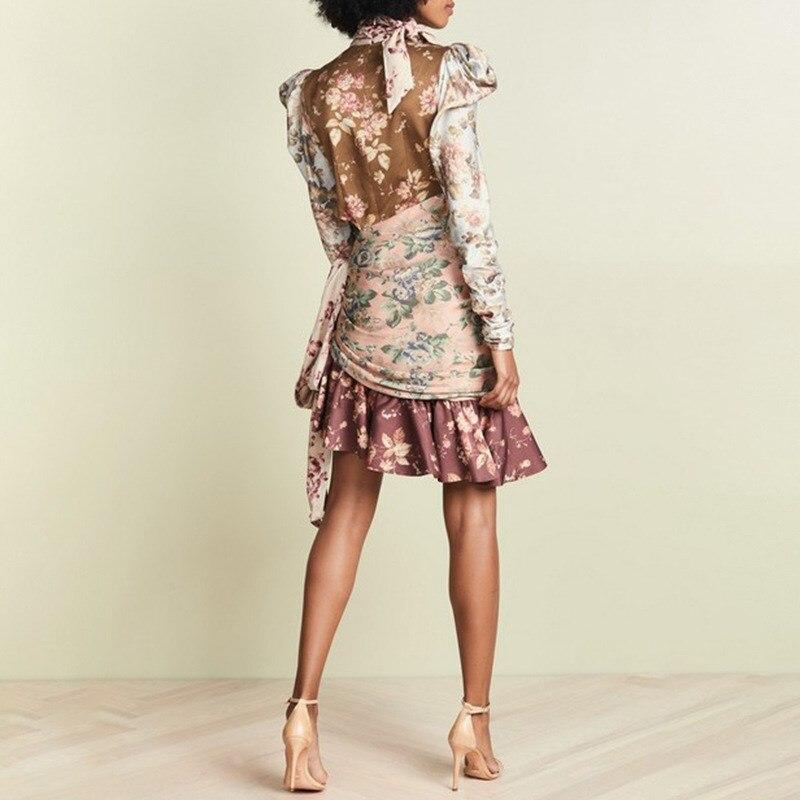 Imprimer Dentelle Manches À Bouffantes Up Robes Volants Haute Femme Taille Évider Asymétrique Multi Robe 0BEq4w