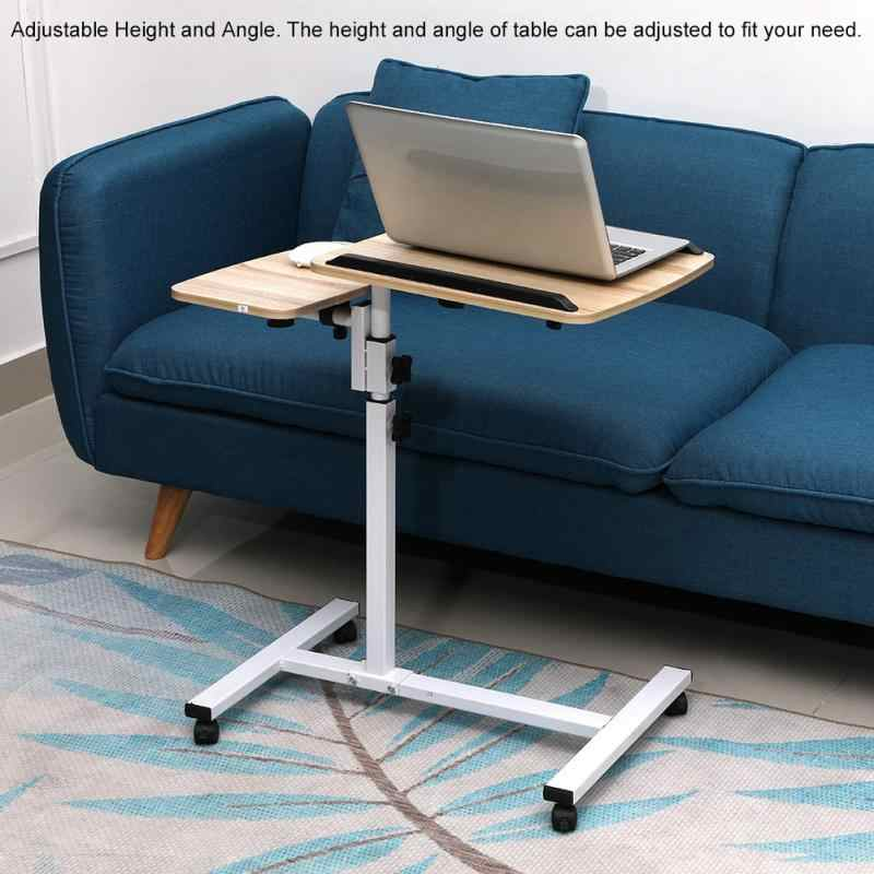 Height Angle Adjustable Laptop Desk Folding Computer Table Stand Bed with Wheels