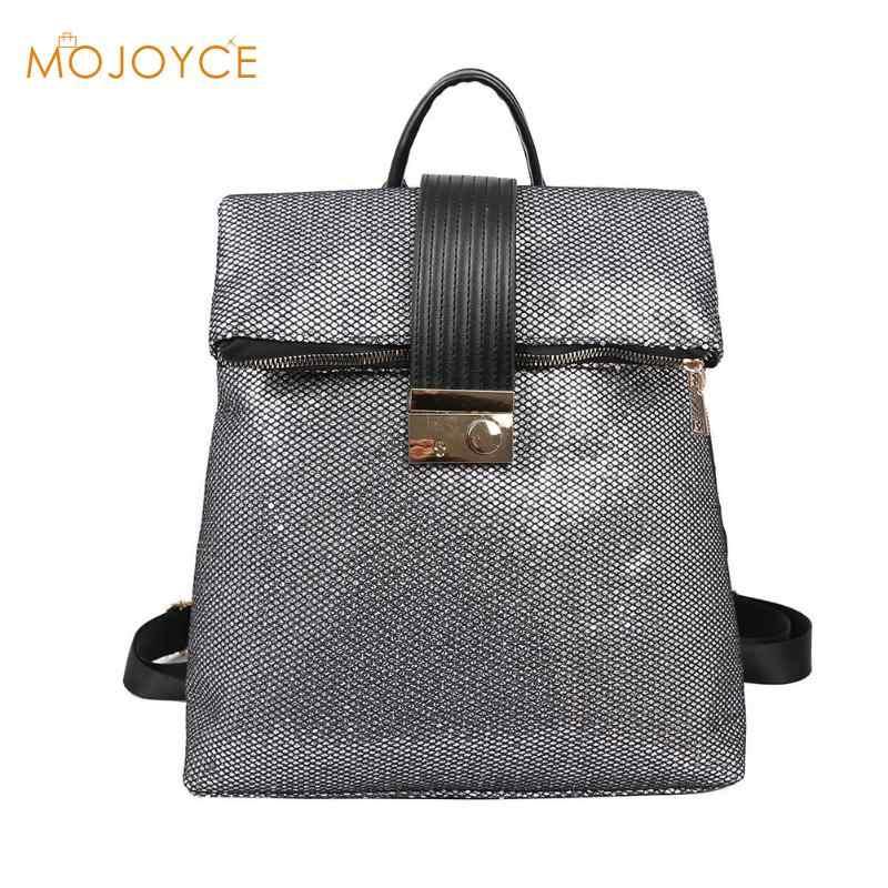 5cc1b0900296 Sequins Large Capacity Backpack Women Travel Satchel Casual Shiny Shoulder  School Bags Sequins Square Pattern Zipper