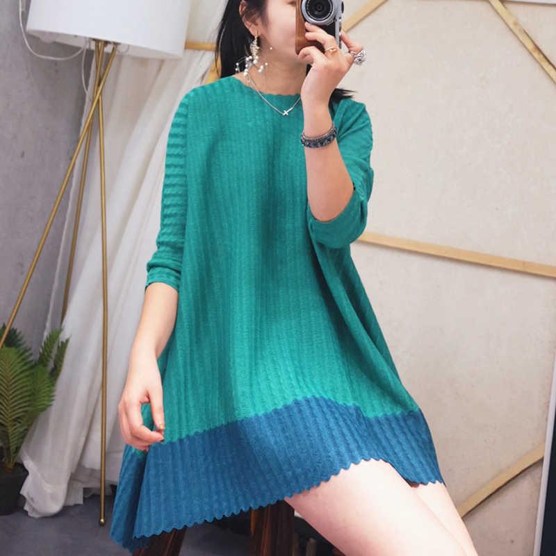 LANMREM 2019 весенняя одежда в клетку для женщин темперамент контрастный цвет необычная ниша три четверти рукав женское платье YH366