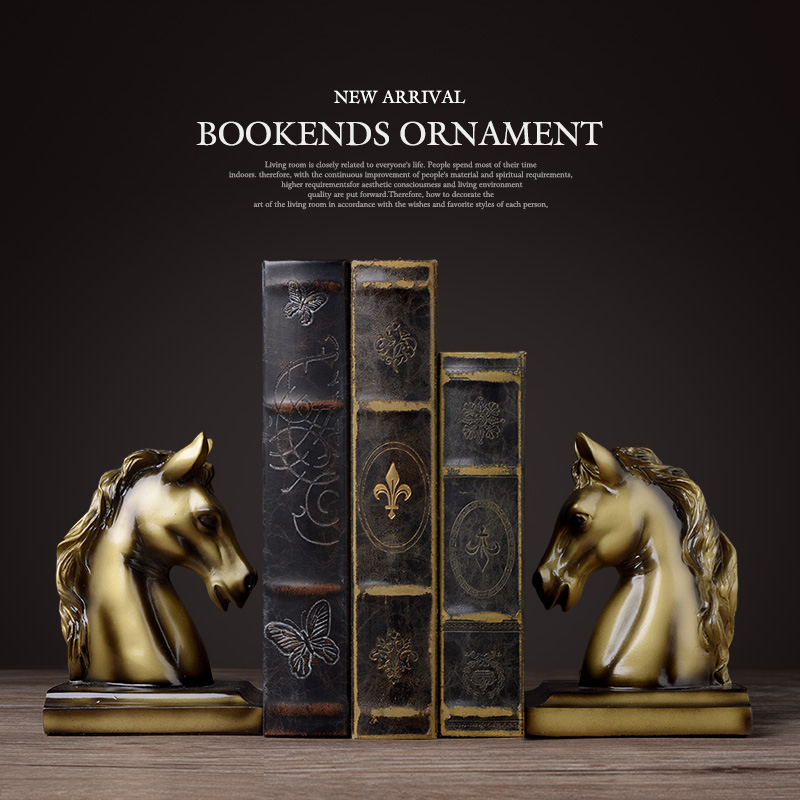 Bookends resin horse craft Vintage study room desk decor ornaments gift brass horse elephant head animal