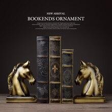 Bookendsม้าเรซิ่นหัตถกรรมVINTAGE Study Room Decorเครื่องประดับของขวัญทองเหลืองม้าหัวช้างสัตว์Figurine Book End
