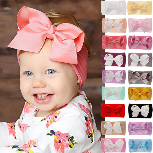 lightclub Solid Color Kids Toddler Infant Newborn Baby Girl Big Bow Headband Turban Infant Solid Color Soft Elastic Hair Band Ginger