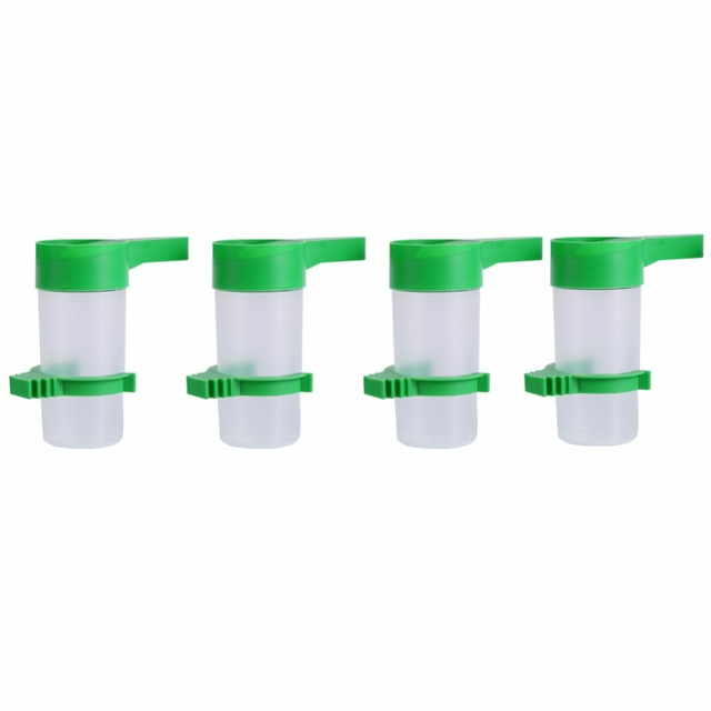 4Pcs Pet Bird Water Drinker Bottle Food Feeder for Aviary Budgie Water Dispenser With Clip Bird Cage Accessories Plastic A30