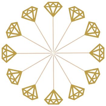 Practical Boutique 50 Pack Golden Glitter Diamond Cakes Toppers Cupcake Decor Food Picks(Gold)