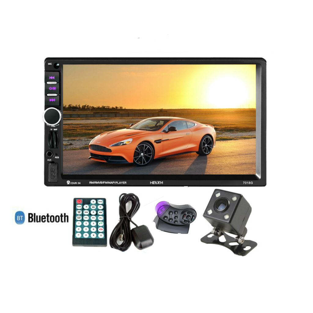 HEVXM 2 Din Car Multimedia Player+GPS Navigation+Camera+Steering wheel control 7in HD Touch Screen Bluetooth Autoradio MP5 VidHEVXM 2 Din Car Multimedia Player+GPS Navigation+Camera+Steering wheel control 7in HD Touch Screen Bluetooth Autoradio MP5 Vid