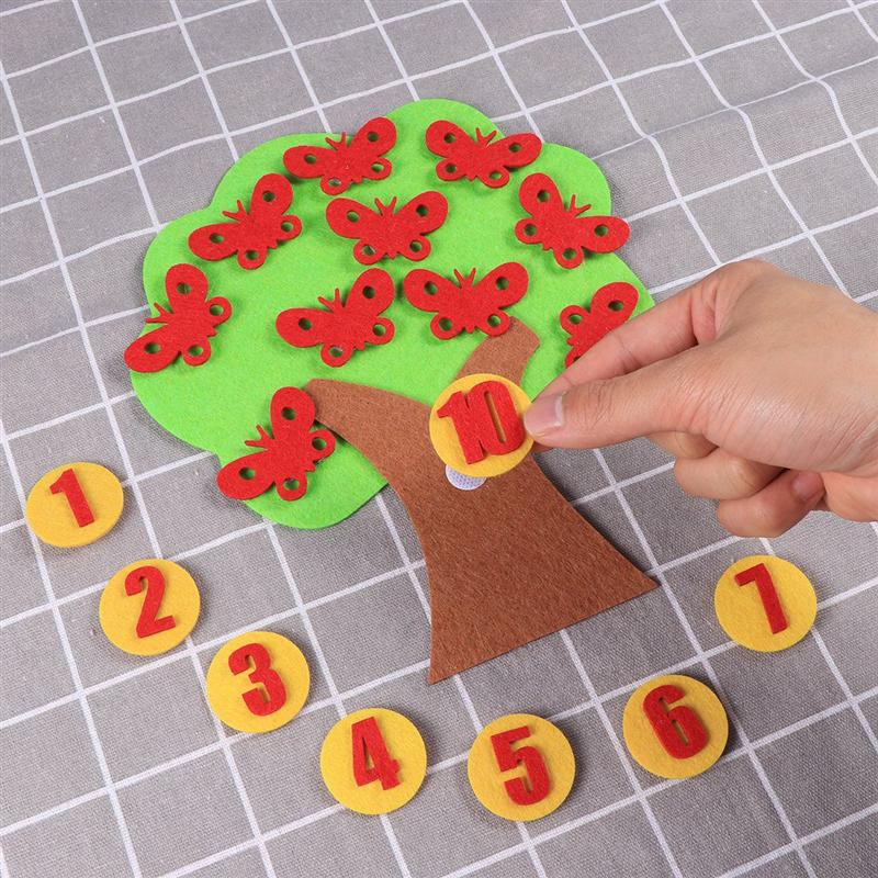 1 Set Children Numbers Teaching Handmade Playing DIY Felt Educational Toy Non-woven Fabric Toys