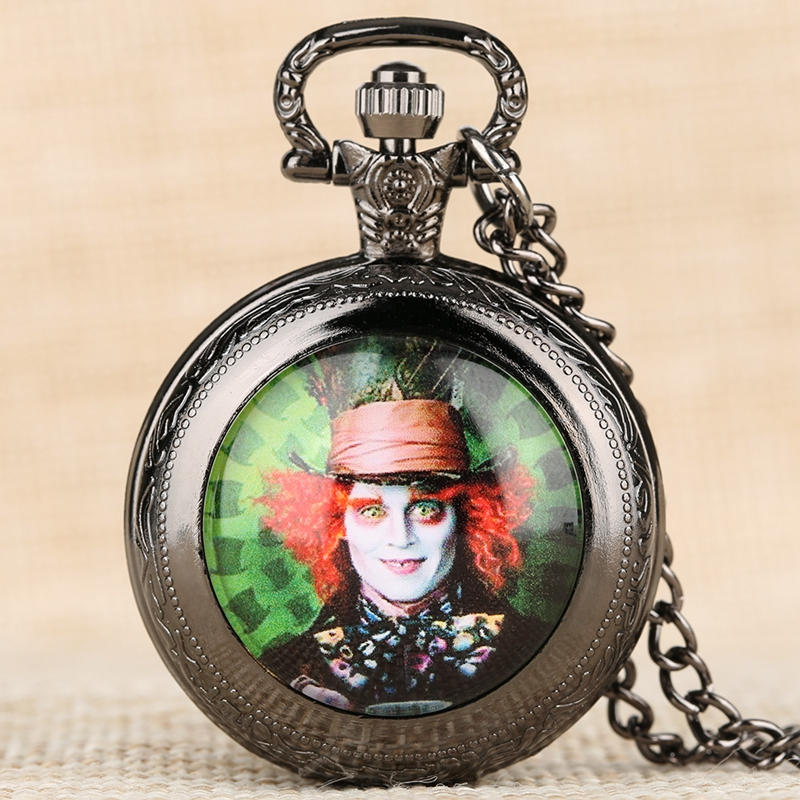 Mad Hatter Pattern Quartz Pocket Watch Famous Alice In Wonderland Theme Necklace Watch Men Clock Pendant Gift For Boys Girls Kid
